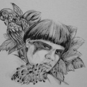 Índio com arara :: Série Tattoo - Atelier Sandra