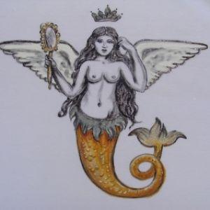 Sereia com Asas Mitológica :: Série Tattoo - Atelier Sandra